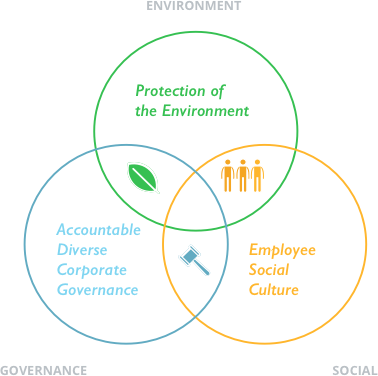 ESG investment screening means checking environmental protection, employee social culture, and looking for accountable, diverse corporate governance. The image uses Venn diagrams to illustrate this.